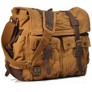 CH2 Chlebak REPORTER TRAVELLER MAX™. Męska torba na ramię XXL. Bawełna - skóra naturalna. Kolor: żółte khaki