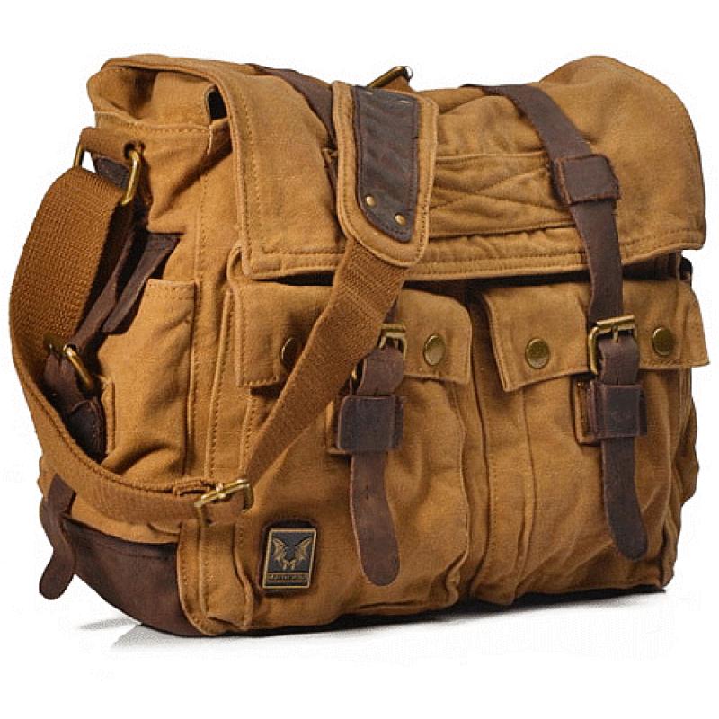 38ef5916d5c45 CH2 Chlebak REPORTER TRAVELLER MAX™. Męska torba na ramię XXL. Bawełna -  skóra naturalna. Kolor  żółte khaki