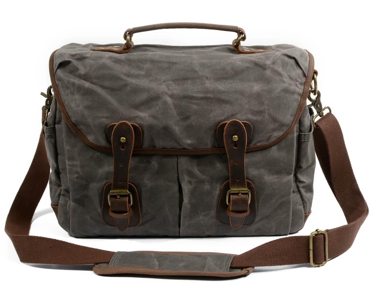 b469a048a3563 ☆ Chlebak WAX TRAVELLER™ Męska torba na ramie bawełniano - skórzana