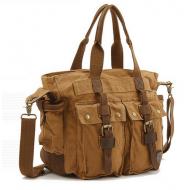 CH3 Chlebak MAX REPORTER TRAVELLER™. Męska torba na ramię XL. Bawełna - skóra naturalna. Kolor: khaki