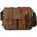 CH1 Chlebak REPORTER TRAVELLER™. Męska torba na ramię XL. Bawełna - skóra naturalna. Kolor:  brąz