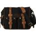 CH1 Chlebak REPORTER TRAVELLER™. Męska torba na ramię XL. Bawełna - skóra naturalna. Kolor: czarny