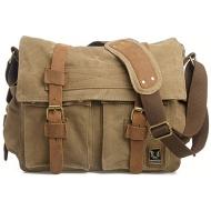 CH1 Chlebak REPORTER TRAVELLER™. Męska torba na ramię XL. Bawełna - skóra naturalna. Kolor: kawa z mlekiem