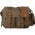 CH1 Chlebak REPORTER TRAVELLER™. Męska torba na ramię XL. Bawełna - skóra naturalna. Kolor: khaki