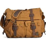 CH1 Chlebak REPORTER TRAVELLER™. Męska torba na ramię XL. Bawełna - skóra naturalna. Kolor:  żółte khaki