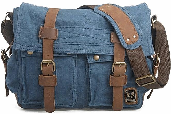 CH1 Chlebak REPORTER TRAVELLER™. Męska torba na ramię XL. Bawełna - skóra naturalna. Kolor: niebieski