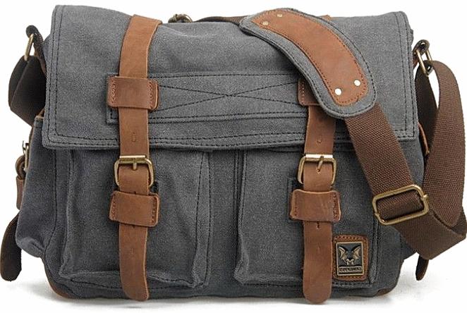 CH1 Chlebak REPORTER TRAVELLER™. Męska torba na ramię XL. Bawełna - skóra naturalna. Kolor: szary