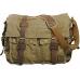 CH1 Chlebak REPORTER TRAVELLER™. Męska torba na ramię XL. Bawełna - skóra naturalna. Kolor: zieleń wojskowa