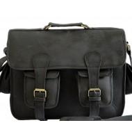 "LH23B. Skórzana listonoszka MAHENDRA LESACK BLACK EDITION™ torba na ramię męska. Rozmiar 16"""