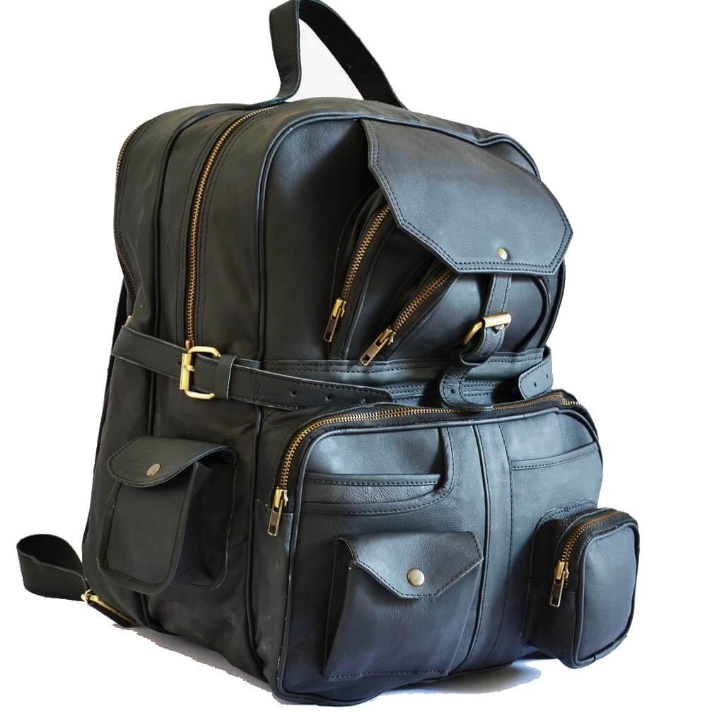 """PH992b HILLARY VINTAGE BLACK EDITION™ Skórzana torba podróżna na ramię / plecak. Rozmiar 12"""""""