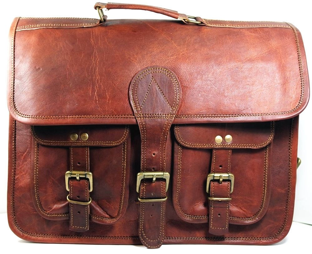 "LH001. Skórzana listonoszka aktowka GORDON LESACK™ torba na ramię męska. Rozmiar 15"""