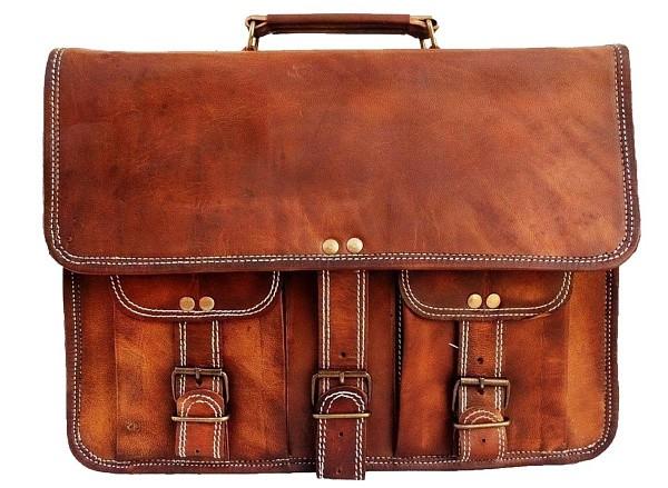 "LH24. Skórzana listonoszka TUDOR 2 LESACK™ torba na ramię męska. Rozmiar 15"" - 17"""
