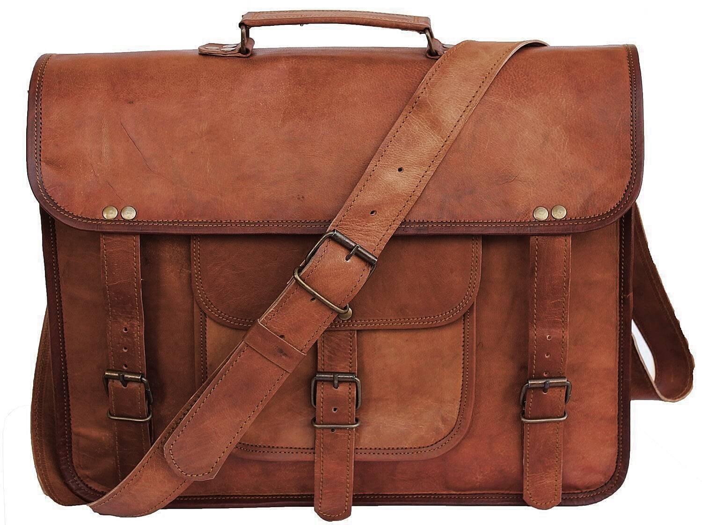 "LH003. Skórzana listonoszka DURHAM LESACK™ torba na ramię męska. Rozmiar 13"" - 16"""