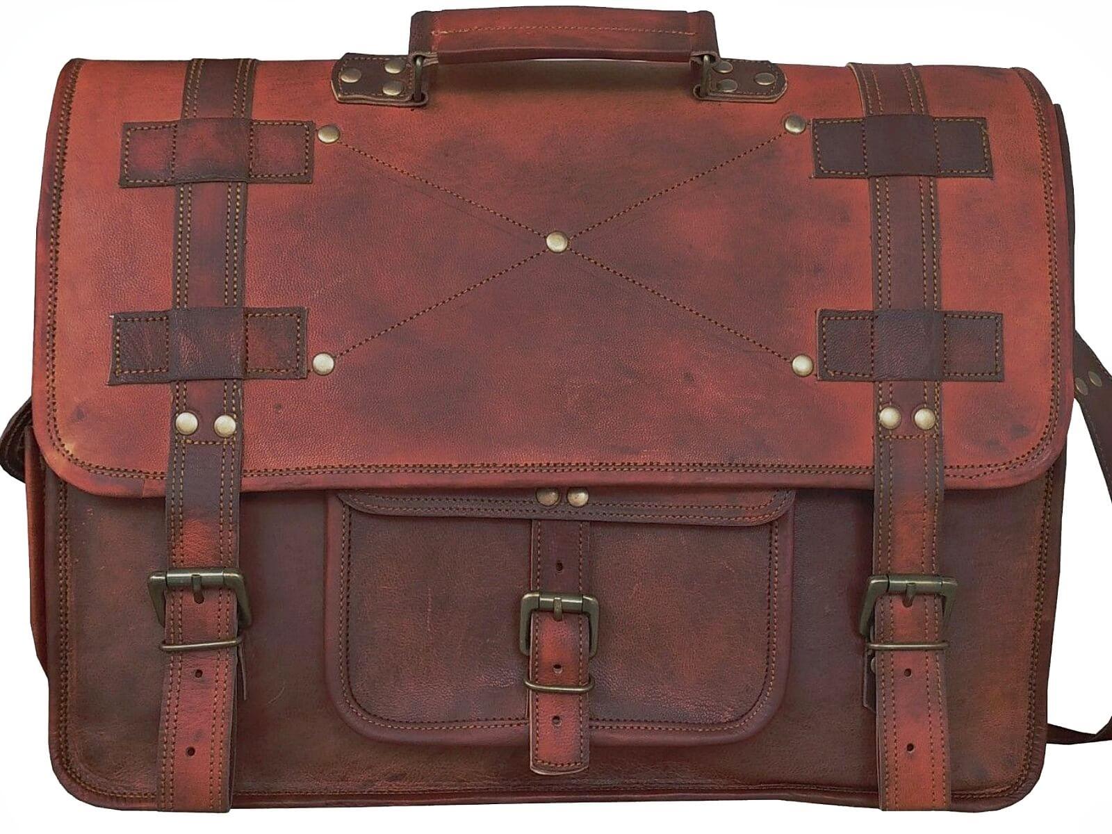 "LH06. Skórzana listonoszka RAZUSTRA II LESACK™ torba na ramię męska. Rozmiar 18"""