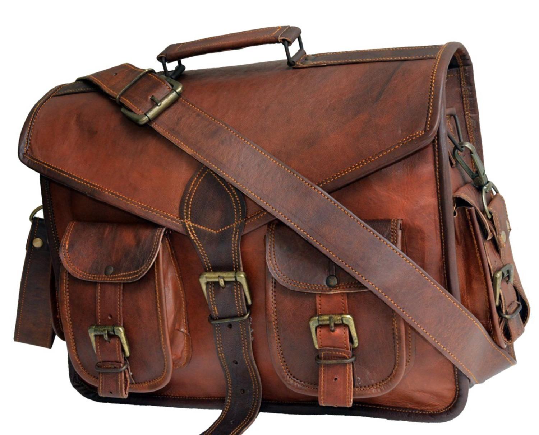 "LH008. Skórzana listonoszka KANTARA LESACK™ torba na ramię męska. Rozmiar 15"""