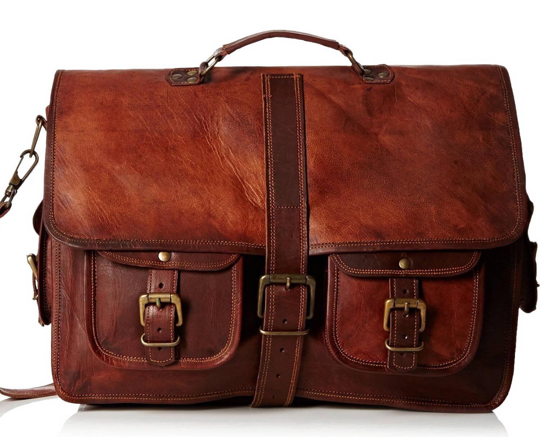 "LH009. Skórzana listonoszka SHANKARA LESACK™ torba na ramię męska. Rozmiar 16"""