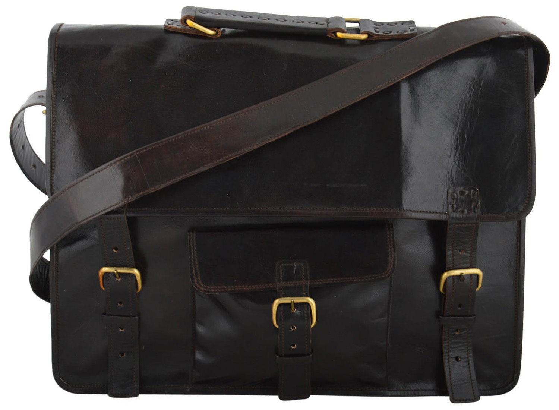 "(24) LH010. Skórzana listonoszka RAMSHI LESACK™ torba na ramię męska. Rozmiar 16"""