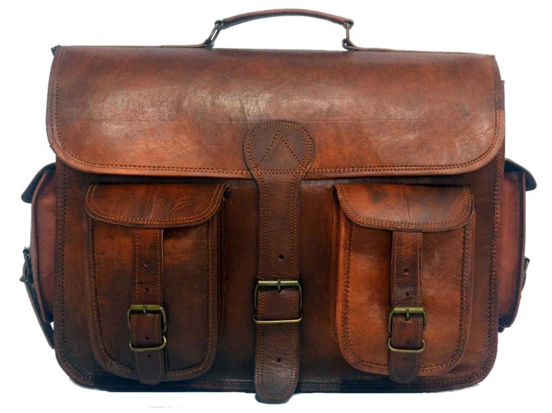 "(24) LH01B. Skórzana listonoszka SHIVAH LESACK™ torba na ramię męska. Rozmiar 15"""