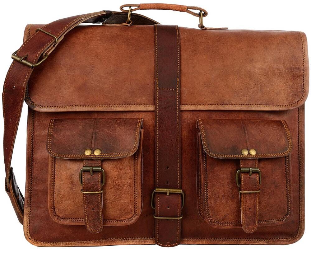 "LH002. Skórzana listonoszka CORRIDOR LESACK™ torba na ramię męska. Rozmiar 15"" -17"""