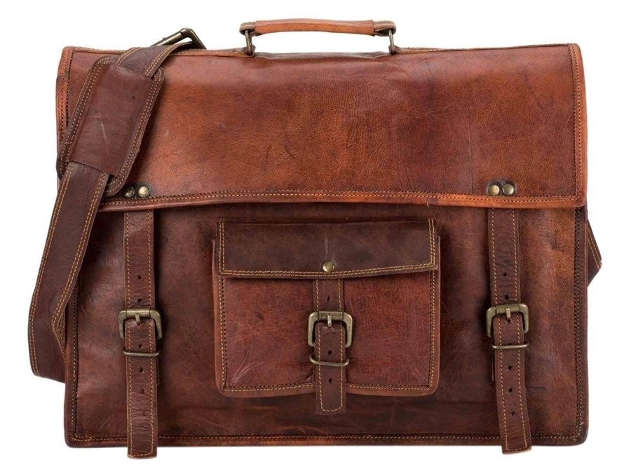 "LH05a. Skórzana listonoszka CHANKAYA 2 LESACK™ torba na ramię męska. Rozmiar 15"""