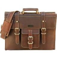 "LH16. Skórzana teczka aktówka PRINCETON LESACK™ torba na ramię męska. Rozmiar 15-16"""
