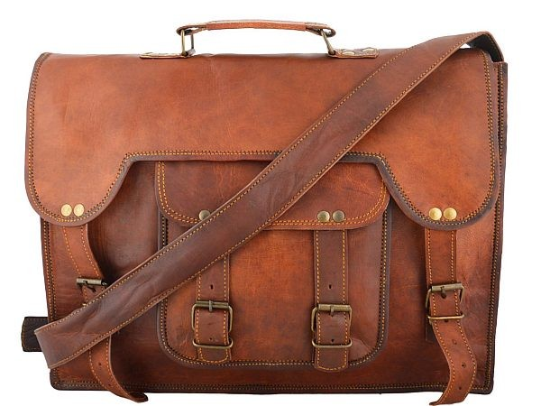 "(24) LH02. Skórzana listonoszka ABHAY LESACK ™ torba na ramię męska. Rozmiar 15"""