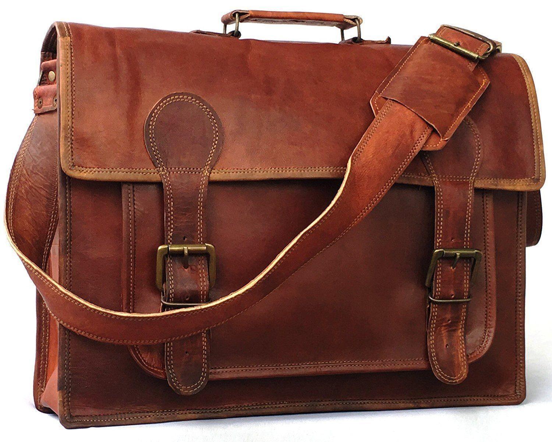 "LH22. Skórzana listonoszka MAHAVIR LESACK™ torba na ramię męska. Rozmiar 16"""
