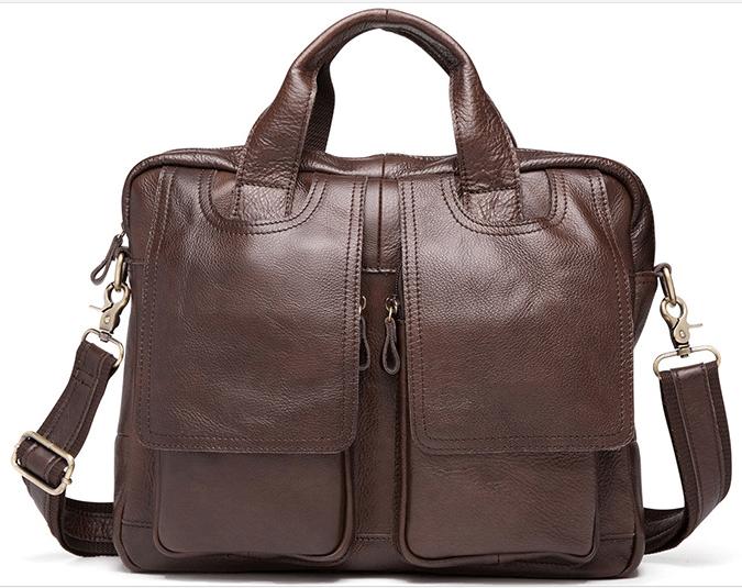 "LH26. Skórzana listonoszka BUSINESS LESACK™ torba na ramię męska. Rozmiar 13"""