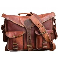 "LH261. Skórzana teczka listonoszka GASTON LESACK™ torba na ramię męska. Rozmiar 14,5"""