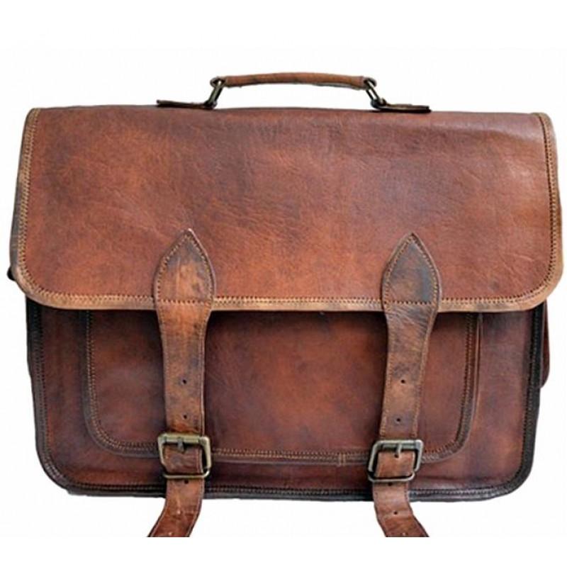 5b1cf8b413d15 Skórzana teczka listonoszka BUSINESS MARK 2™ torba na ramię męska. Rozmiar  14-16