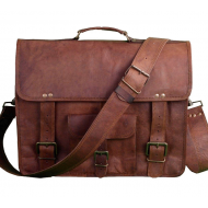 "LH2681. Skórzana teczka listonoszka SITHAR VINTAGE™ torba na ramię męska. Rozmiar 15"""