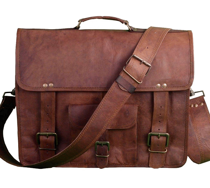 "LH2681. Skórzana teczka listonoszka SITHAR VINTAGE™ torba na ramię męska. Rozmiar 15"" -18"""