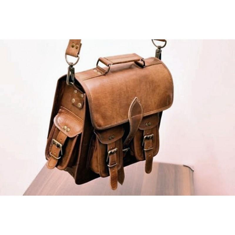 5ef27a71d1ea9d ... 90dc6a2b87322 Mała skórzana teczka listonoszka GANESH VINTAGE™ torba na  ramię .