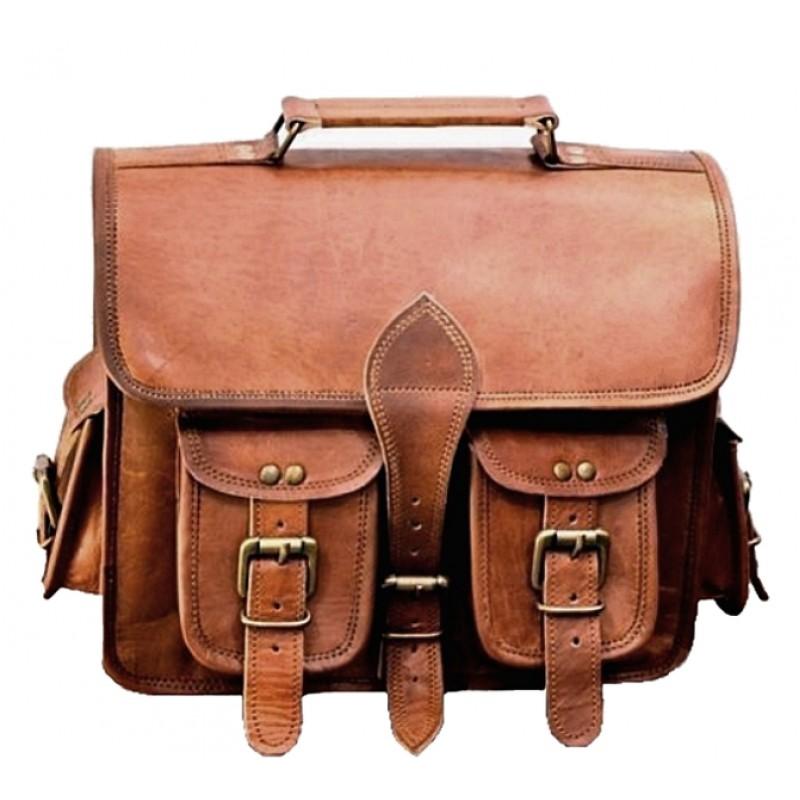 3eb0064b75da9 Duża skórzana teczka listonoszka GANESH VINTAGE™ torba na ramię .