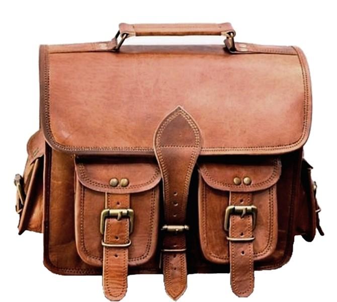 """LH2694. Mała skórzana teczka listonoszka GANESH VINTAGE™ torba na ramię . Rozmiar 15"""""""