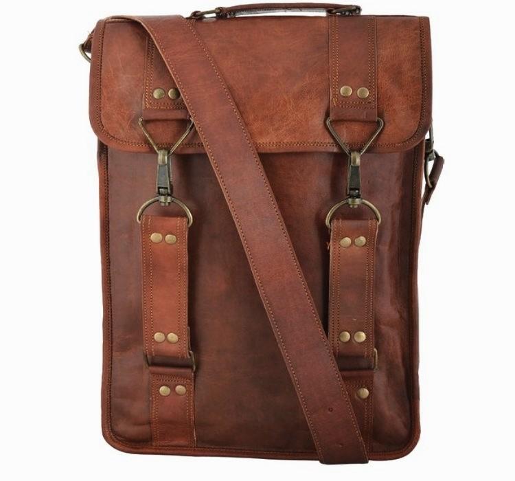 """(24h) LH29. Skórzana mała listonoszka RONIN 3 LESACK™ torba na ramię męska. Rozmiar 15"""" (dostawa w 24h)"""