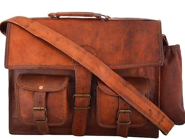 "LH03. Skórzana listonoszka BANDHU LESACK™ torba na ramię męska. Rozmiar 15"""