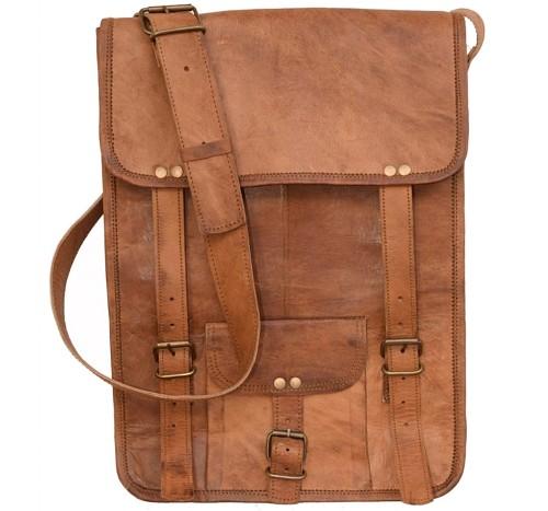 "LH35. Skórzana mała listonoszka GASCOIN LESACK™ torba na ramię męska. Rozmiar 11"""