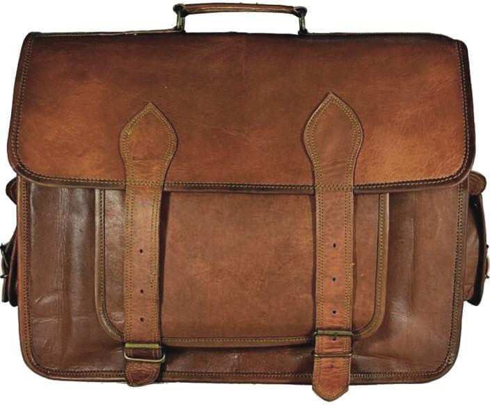 "LH04. Skórzana listonoszka BHUPAL LESACK™ torba na ramię męska. Rozmiar 15"" -18"""