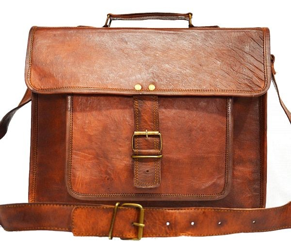 "LH06R. Skórzana listonoszka DHAIRYA LESACK™ torba na ramię męska. Rozmiar 14""-16"""