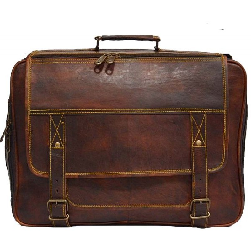 aa9b48feb2709 ☆ LH07 Skórzana listonoszka, męska torba na laptopa z grubej skóry ...