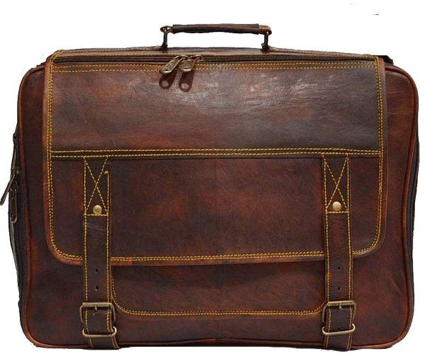 "LH07. Skórzana listonoszka HARDIK LESACK™ torba na ramię męska. Rozmiar 17"""