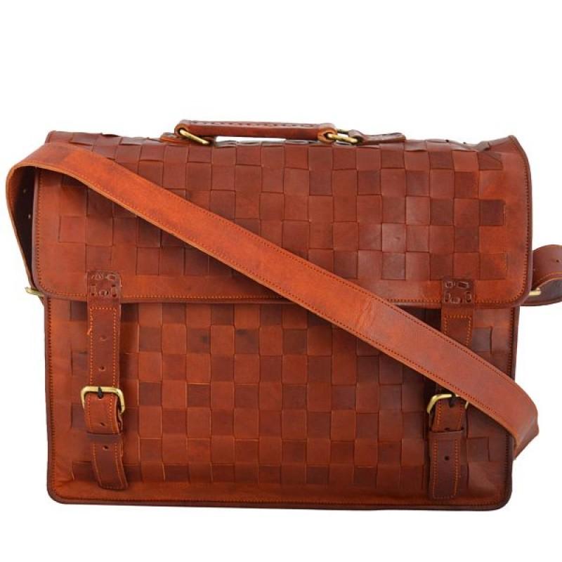 d6d19eeeeb96f Skórzana listonoszka GAJENDRA LESACK™ torba na ramię męska. Rozmiar 16