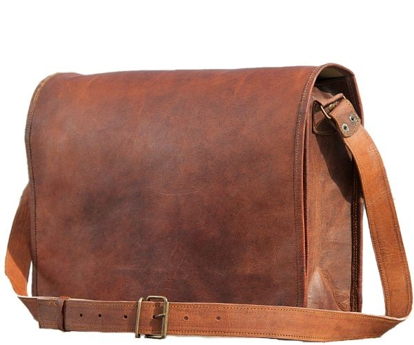 "LH13. Skórzana listonoszka KRITANU LESACK™ torba na ramię męska. Rozmiar 11"""