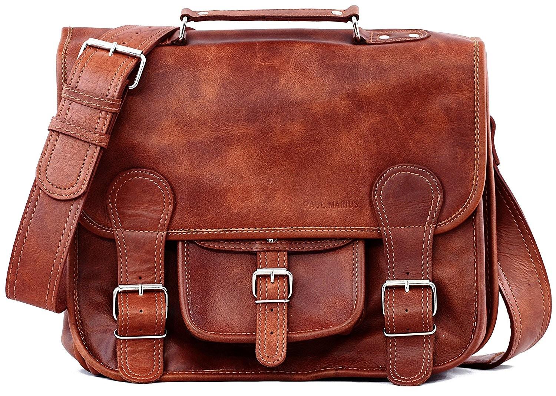 "LHA01. Skórzana listonoszka MARIUS LESACK™ torba na ramię unisex. Rozmiar 14"""