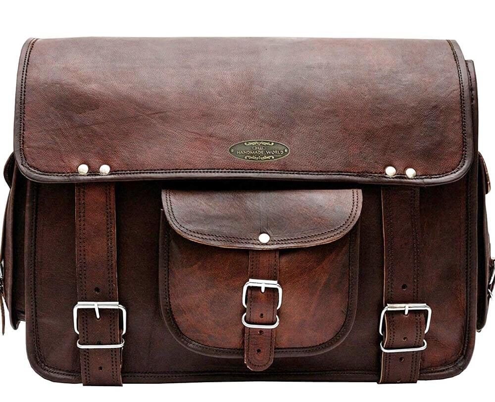 """LHB7 Skórzana teczka aktowka LARGO LESACK™ torba na ramię męska. Rozmiar 15"""""""
