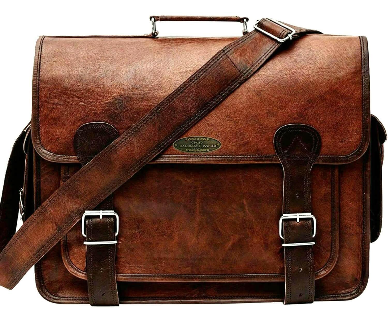 "LHB9 Skórzana teczka ROMEL LESACK™ torba na ramię męska. Rozmiar 15"" - 18"""
