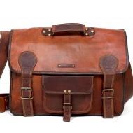 "LH0RH5 Skórzana teczka listonoszka RAWHIDE VINTAGE™ torba na ramię męska. Rozmiar 17"""