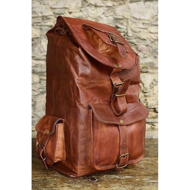 ffadc7da92186 ☆ PLH7 Skórzany plecak męski   damski z grubej skóry w stylu vintage.