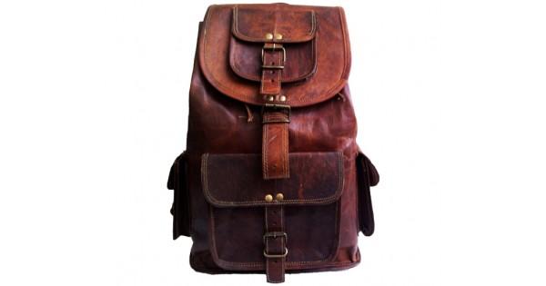 ca1f598e0f103 ☆ PLH8 Skórzany plecak męski   damski z grubej skóry w stylu vintage.